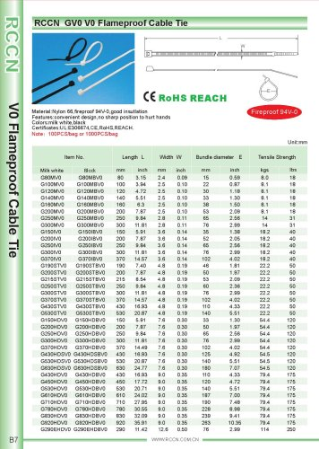 RCCN  GV0 V0 Flameproof Cable Tie