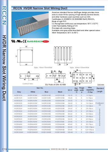 RCCN  HVDR Narrow Slot Wiring Duct C19