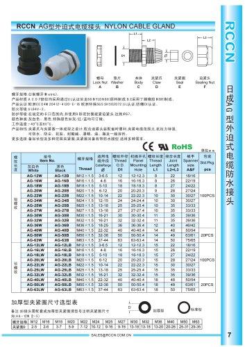 RCCN Nylon cable gland AG
