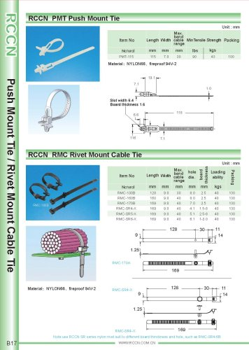 RCCN  PMT Push Mount Tie / RMC Rivet Mount Cable Tie B17