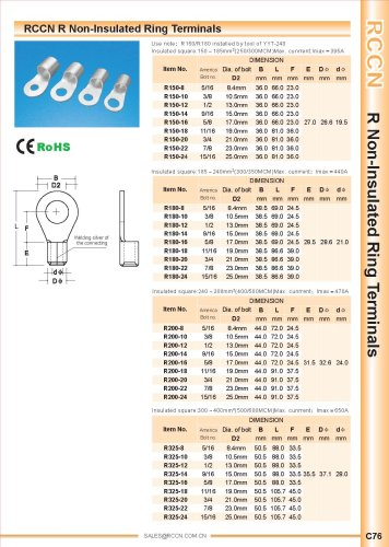 RCCN R Non-Insulated Ring Terminals YYT 240 C76