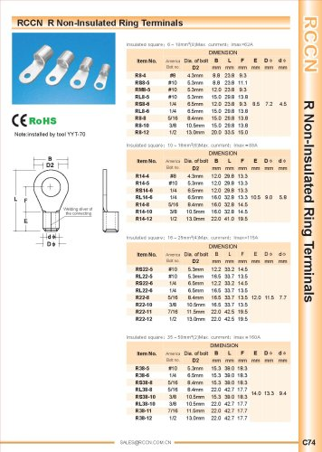 RCCN  R Non-Insulated Ring Terminals YYT 70 C74