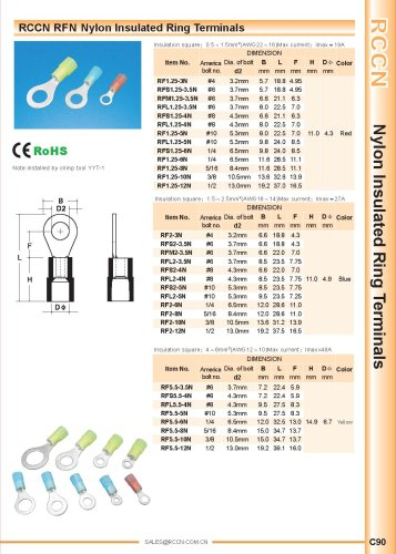 RCCN RFN Nylon Insulated Ring Terminals
