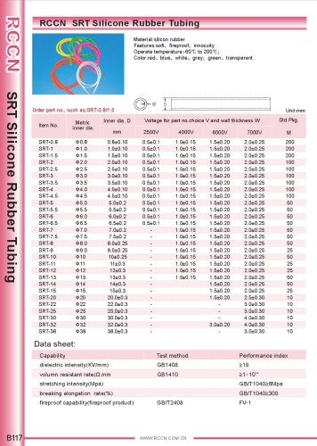 RCCN  SRT Silicone Rubber Tubing