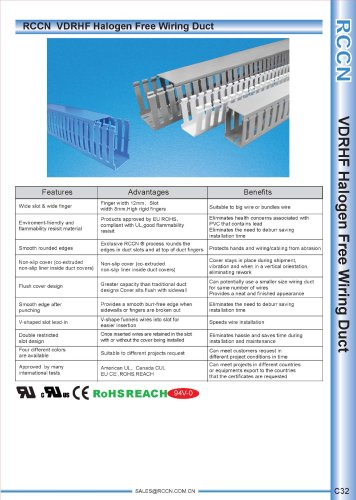 RCCN  VDRHF Halogen Free Wiring Duct C32