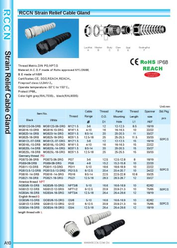 Strain Relief Cable Gland A10