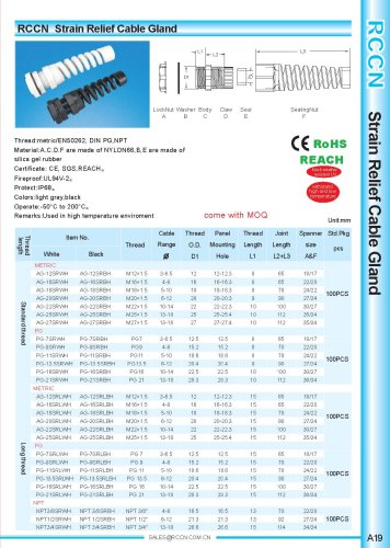 Strain Relief Cable Gland A19