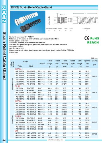 Strain Relief Cable Gland A4