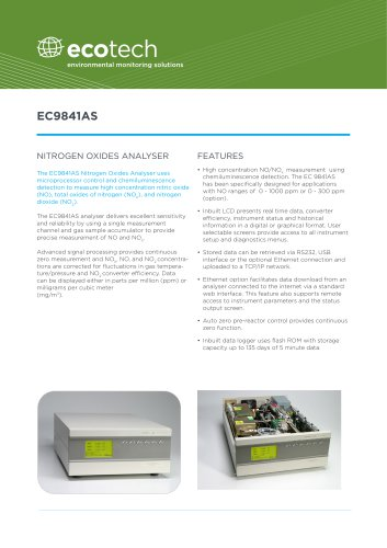 NOx EC9841AS - Ecotech - PDF Catalogs | Technical