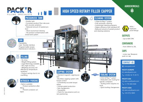AGROCHEMICALS HIGH SPEED ROTARY FILLER CAPPER