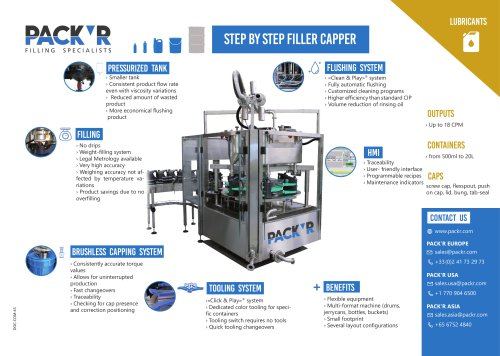 LUBRICANTS STEP BY STEP FILLER CAPPER