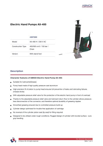 Electric Hand Pumps AX-400