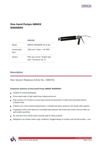 One-hand Pumps ABNOX WANNER® 3065400