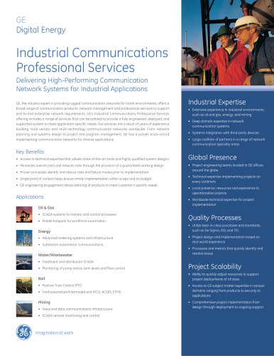 Digital Energy Industrial Communications Professional Services Brochure