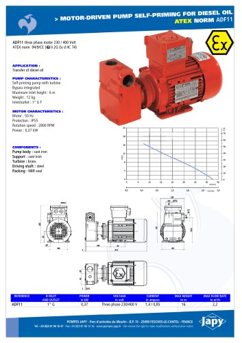 ATEX electric pump for diesel oil: ADF11