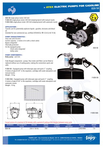 ATEX electric pump for gasoline: EEX-50