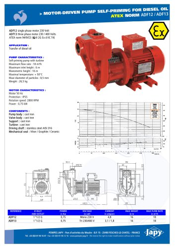 ATEX electric pumps for diesel oil: ADF12 - ADF13