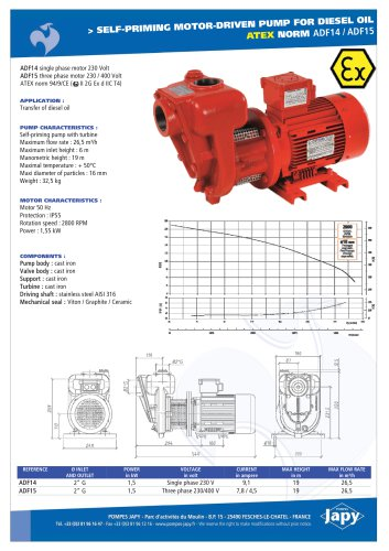 ATEX electric pumps for diesel oil: ADF14 - ADF15
