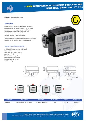 ATEX mechanical flow meter: K33-ATEX