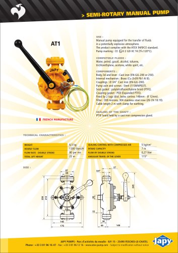ATEX Semi rotary manual pump: AT1