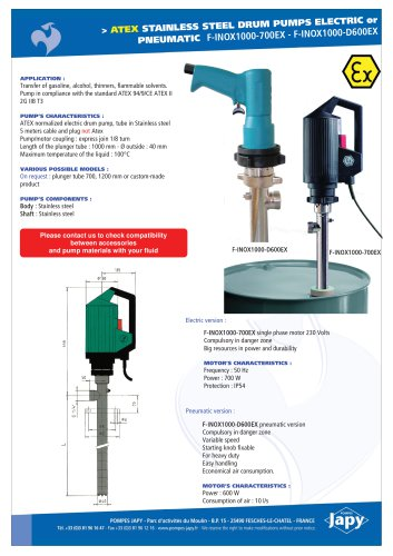 ATEX stainless steel drum pumps: F-INOX1000-700EX - F-INOX1000-D600EX