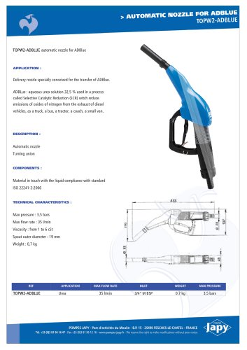Automatic delivery gun for ADBLUE: TOPW2-ADBLUE
