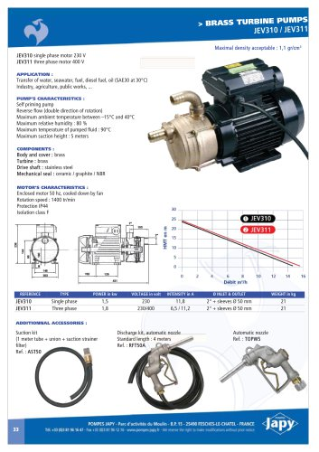 Brass turbine pumps JEV310 - JEV311