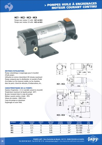 DC Gear pumps for oil: HC1 HC2 HC3 HC4