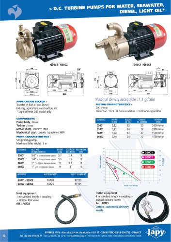 DC turbine pumps water, diesel, light oil: G30Cx - G60Cx