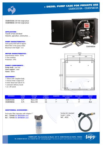 Diesel pump case for private use: COJEV2533A - COJEV5833A