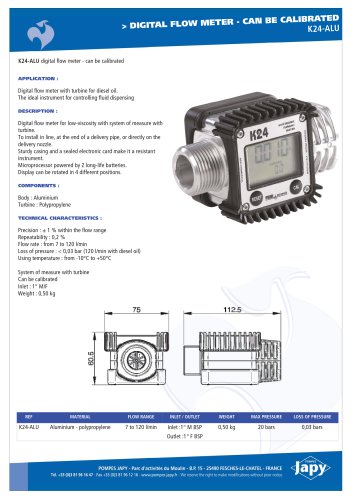 Digital flow meter: K24-ALU