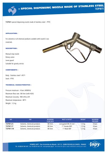 Dispensing gun made of stainless steel-PTFE: TOPW1i