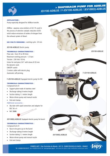 Electric diaphragm pump for ADBLUE: JEV100-ADBLUE - F-JEV100-ADBLUE - JEV100EQ-ADBLUE