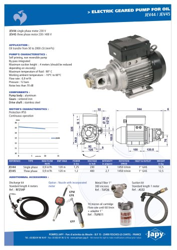 Electric geared pump for oil: JEV44 - JEV45