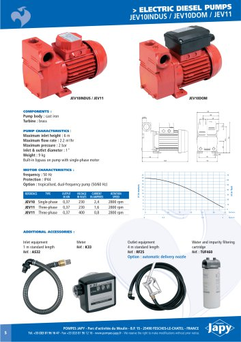 Electric pump for diesel: JEV10 - JEV11