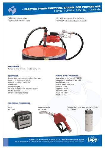 Electric pump emptying barrel for diesel oil: F-JEV10