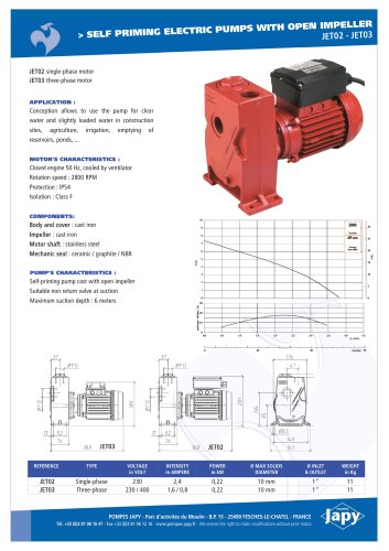 Electric pumps with open impeller for water: JET02 à JET17