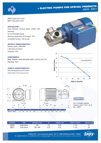 Electric pumps for special products: JEX10 - JEX11