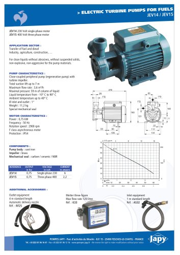 Electric turbine pump for fuels: JEV14 - JEV15