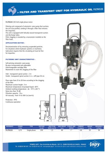 Filter and transfert unit for hydraulic oil: FILTRO20