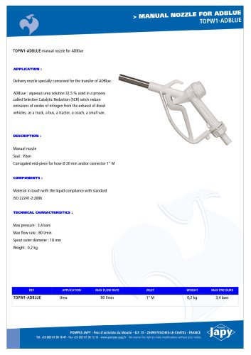 Manual delivery gun for ADBLUE: TOPW1-ADBLUE