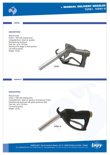 Manual delivery gun for oil: TOPW1-H