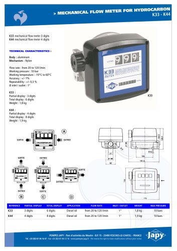 Mechanical flow meter for hydrocarbon: K33 - K44