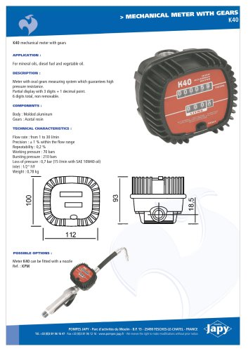 Mechanical meter with gears: K40