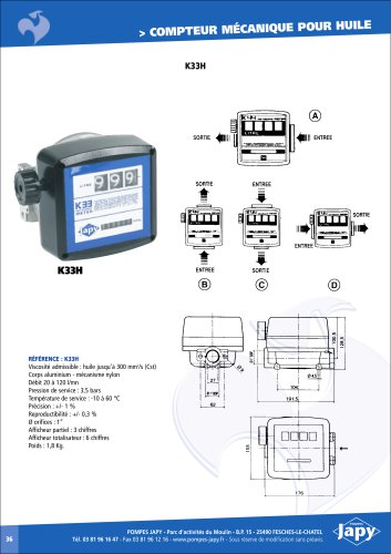 Mechanical meter for oi