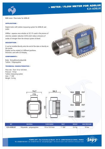 Meter, flow meter for Adblue: K24-ADBLUE