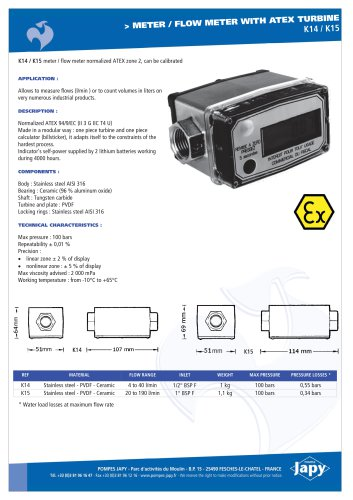 Meter, flow meter with ATEX turbine : K14 - K15