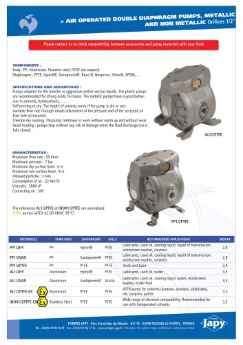 Pneumatic double diaphragm pumps, metallic/plastic 1/2'': PP1/2xx - AL1/2xx - INOX1/2xx