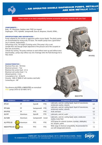 Pneumatic double diaphragm pumps, metallic/plastic 1'': PP1xx - AL1xx - INOX1xx