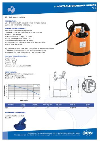 Portable drainage pump: PE-S
